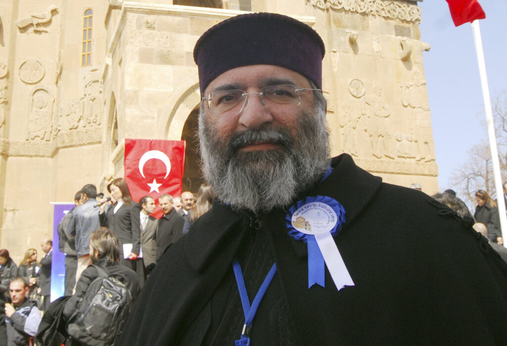 Patriarch Mesrob II is shown in 2007 after a ceremony marking the restoration of the Akhtamar church in Lake Van in eastern Turkey. He died Friday at Istanbul's Armenian Surp Pirgic hospital.