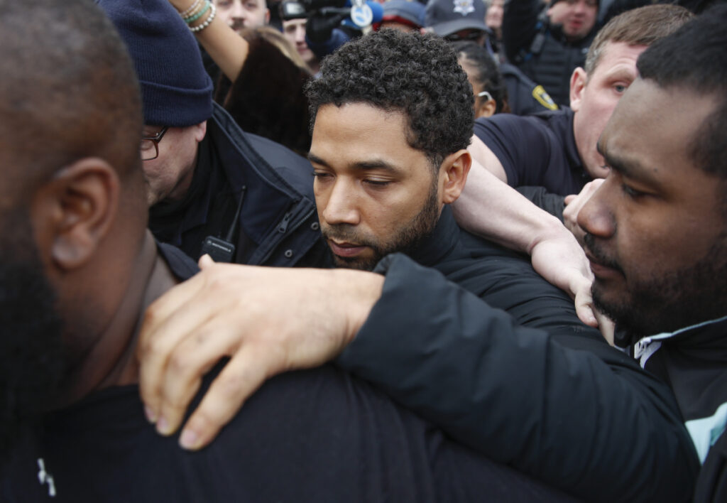 """""""Empire"""" actor Jussie Smollett, above, was indicted on 16 felony charges after authorities say he falsely told police that he was attacked by two men in Chicago."""