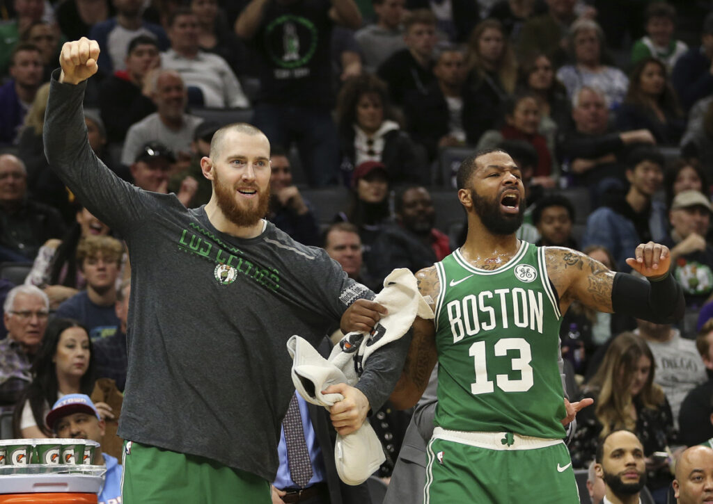 Now the Celtics are having fun with back-to-back wins on a West Coast trip, including Aron Baynes, left, and Marcus Morris.