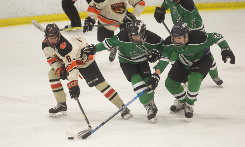 Nick McSorley, left, is part of a dangerous top line for Biddeford, which faces St. Dominic in the Class A state final on Saturday.
