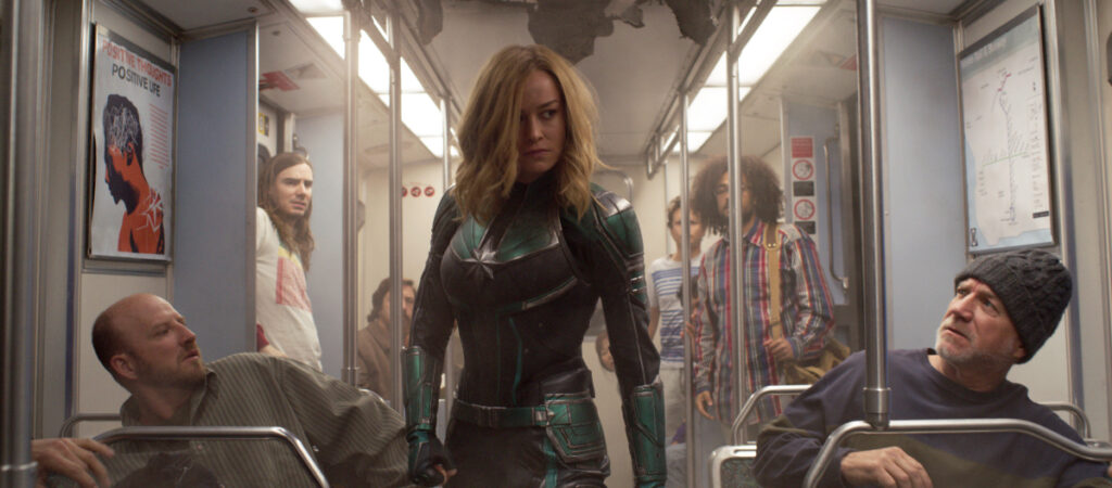 "Brie Larson appears in a scene from ""Captain Marvel."""