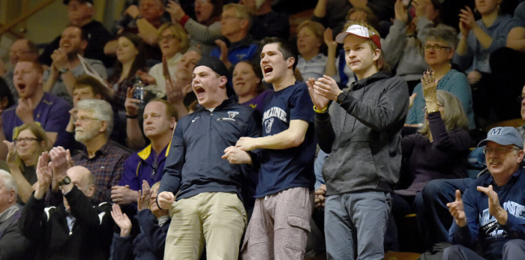 Maine fans loudly cheer on the Black Bears during their win over Albany in an America East women's basketball semifinal Sunday at The Pit.