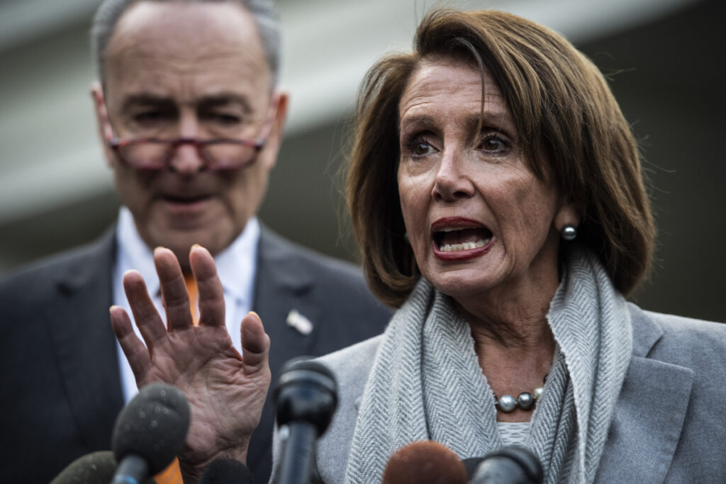 "House Speaker Nancy Pelosi, D-Calif., and Senate Minority Leader Chuck Schumer, D-N.Y., speak to the media after a meeting with President Trump during the partial government shutdown. Pelosi is setting a high bar for impeachment of the president, saying he is ""just not worth it"" even as some on her left flank clamor to start proceedings."