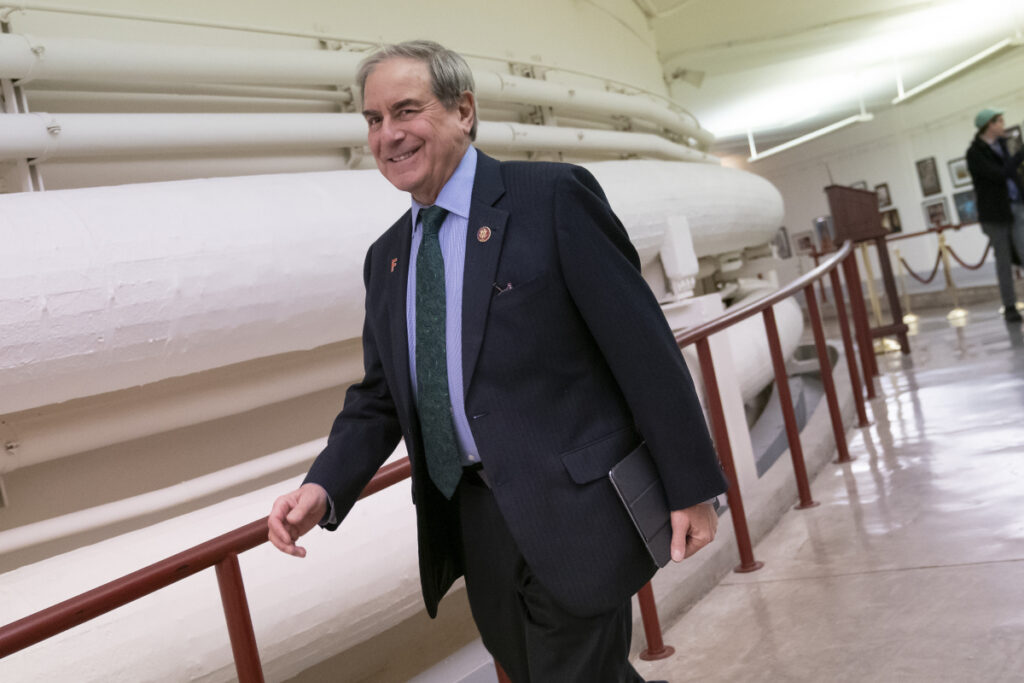 "House Budget Committee Chairman John Yarmuth, D-Ky., walks through the Capitol in Washington on Monday as President Trump's 2020 budget is delivered to his committee. ""Nobody has to advise Nancy on the political implications of any policy,"" he said of House Speaker Nancy Pelosi."