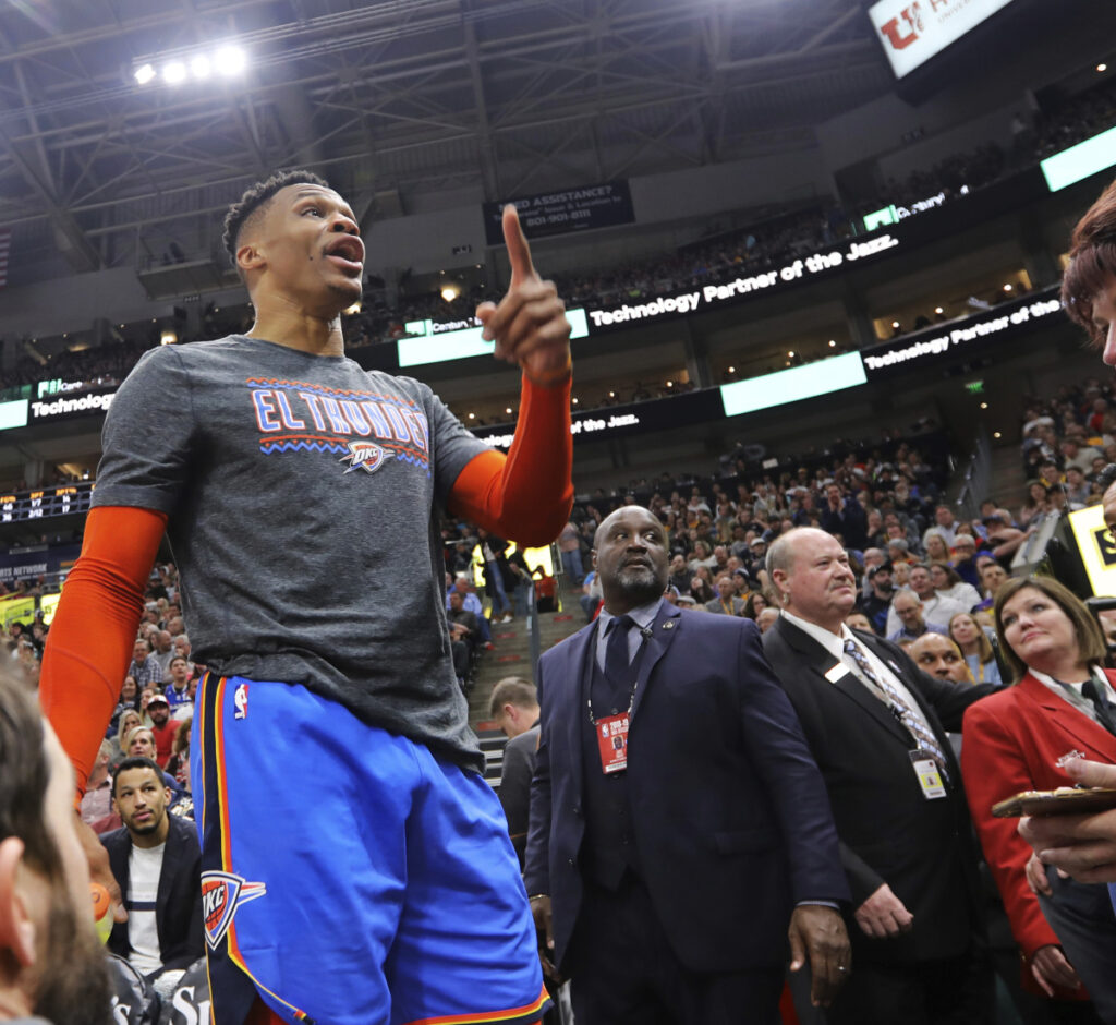 Oklahoma City's Russell Westbrook gets into a heated verbal altercation with fans in Utah on Monday night. He was fined $25,000 by the NBA.