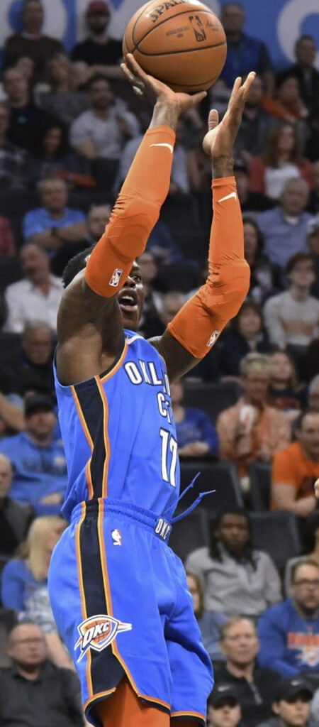 Thunder guard Dennis Schroeder goes up for a shot during his team's 108-96 win Wednesday night against the Brooklyn Nets. Oklahoma City overcame a 10-point halftime deficit.
