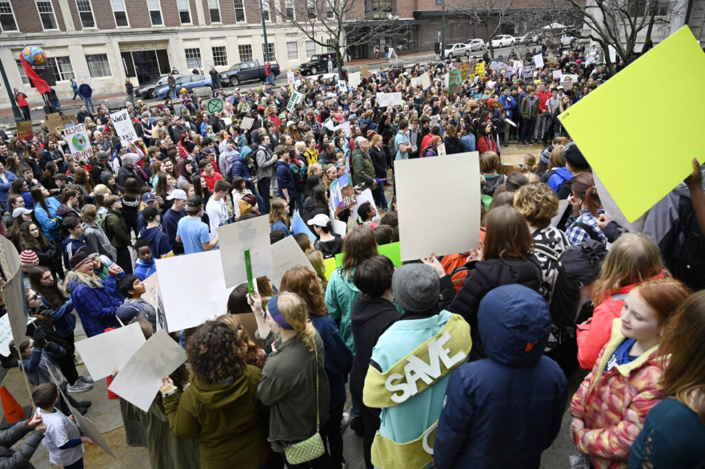 PORTLAND,ME - MARCH 15: Maine students take part in a global strike on the lack of action on climate change Friday, March 15, 2019. The students gathered outside City Hall in Portland among other places. (Staff photo by Shawn Patrick Ouellette/Staff Photographer)