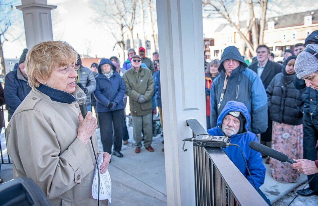 Gov. Janet Mills speaks at the Standing Up Against Hate vigil in Lewiston's Kennedy Park on Sunday afternoon. The vigil was held to condemn Friday's mass shooting at two New Zealand mosques and decry hatred and violence. (Sun Journal photo by Andree Kehn)