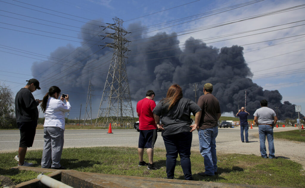 The fire at Intercontinental Terminals Company in Deer Park, Texas, grew late Monday and into Tuesday after water pressure dropped.