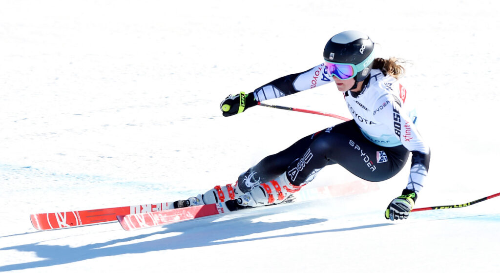 After settling for bronze in the NorAm Cup race in the morning, Alice Merryweather let loose Tuesday afternoon to win the national downhill title at the U.S. Alpine Speed Championships at Sugarloaf in Carrabassett Valley.