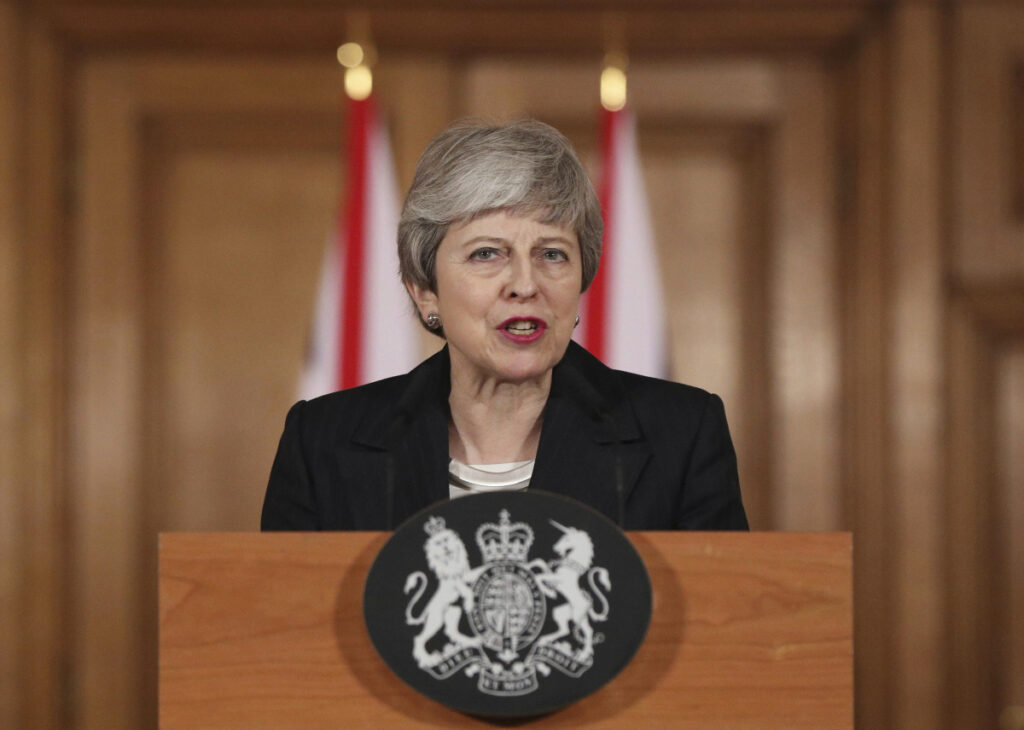 "Britain's Prime Minister Theresa May said Wednesday that it's a matter of ""great personal regret"" that the U.K. won't leave the EU with a deal on March 29."