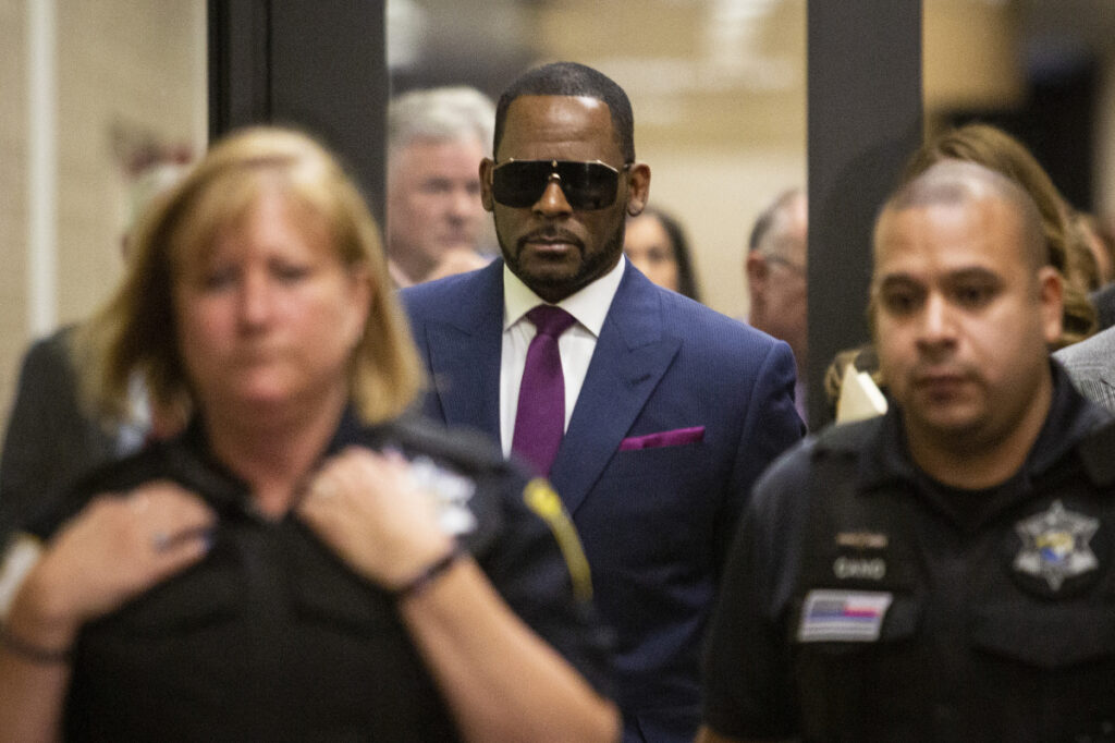 R. Kelly leaves a court appearance in Chicago on Monday.