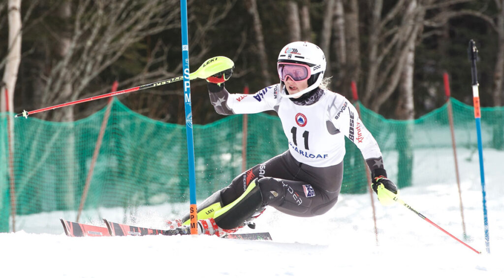 Nina O'Brien says she was focusing on her slalom race Thursday in the final of the Alpine combined event. She won in 43.90 seconds, which gave her a combined time that was two-tenths of a second ahead of AJ Hurt for the title at the U.S. Alpine Speed Championships at Sugarloaf.