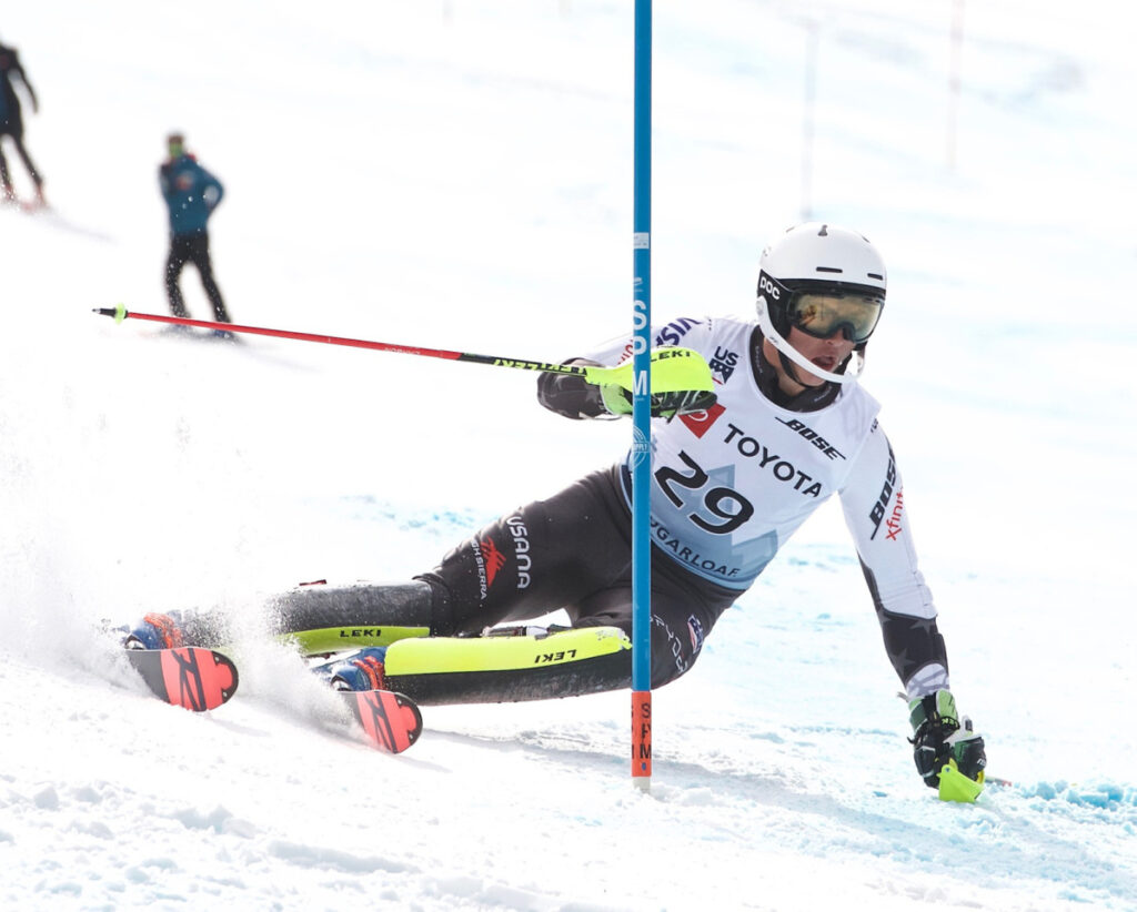 Luke Winters of Oregon finishes first in Thursday's slalom race to capture the Alpine combined national title at the U.S. Alpine Speed Championships at Sugarloaf.