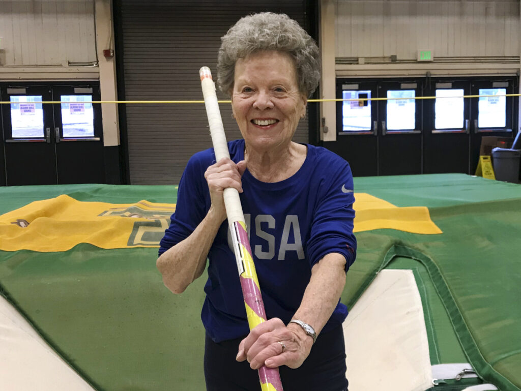 "Florence ""Flo"" Filion Meiler, an 84-year-old record-setting pole vaulter, poses while training earlier this month. at the University of Vermont."