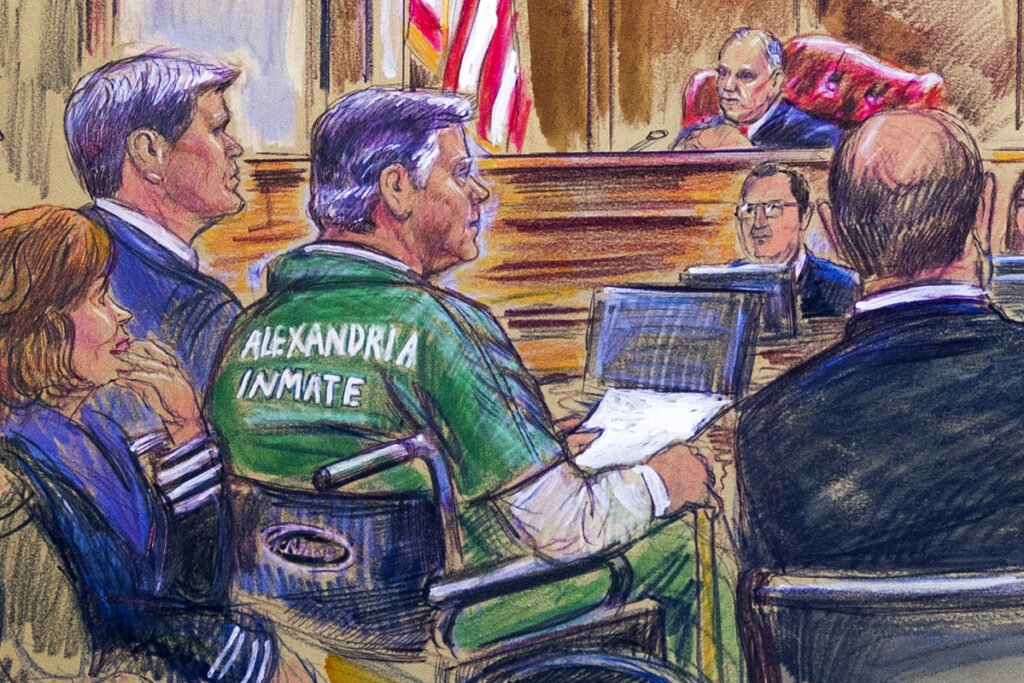 This March 7 courtroom sketch depicts former Trump campaign chairman Paul Manafort, center, sitting in a wheelchair, during his sentencing hearing in federal court before judge T.S. Ellis III in Alexandria, Va. Manafort was sentenced to nearly four years in prison for tax and bank fraud related to his work advising Ukrainian politicians, a significant break from sentencing guidelines that called for a 20-year prison term.