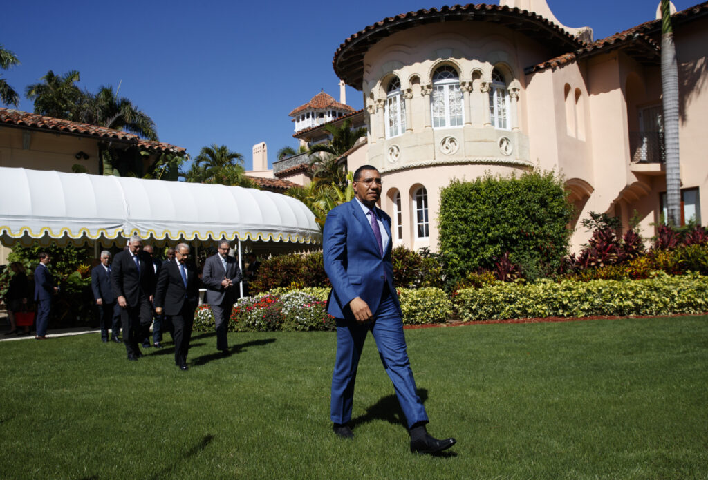 Caribbean leaders, led by Jamaican Prime Minister Andrew Holness, emerge Friday after meeting with President Trump at his Mar-A Lago estate.