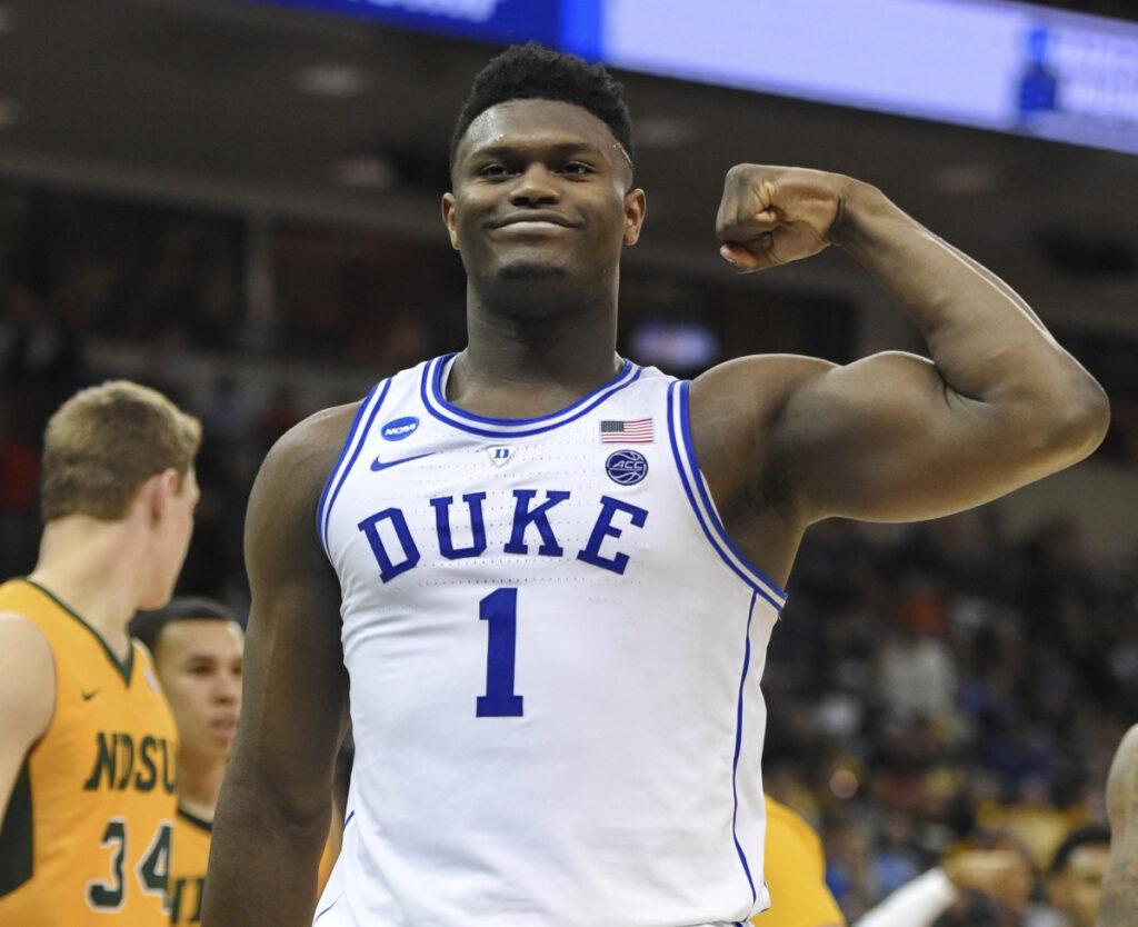 Duke's Zion Williamson flexes after a basket against North Dakota State in a first-round game in the NCAA tournament Friday night at Columbia, S.C. Williamson scored 25 points in Duke's 85-62 win.