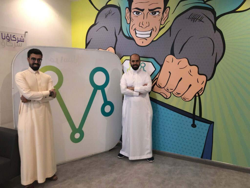 Naif AlSamri, left, and Ayman Alsanad, co-founders of delivery app Mrsool, at their office in Riyadh, Saudi Arabia. According to Apple's App Store, Mrsool ranks among the country's 30 most popular downloads, several places above Facebook and Uber.