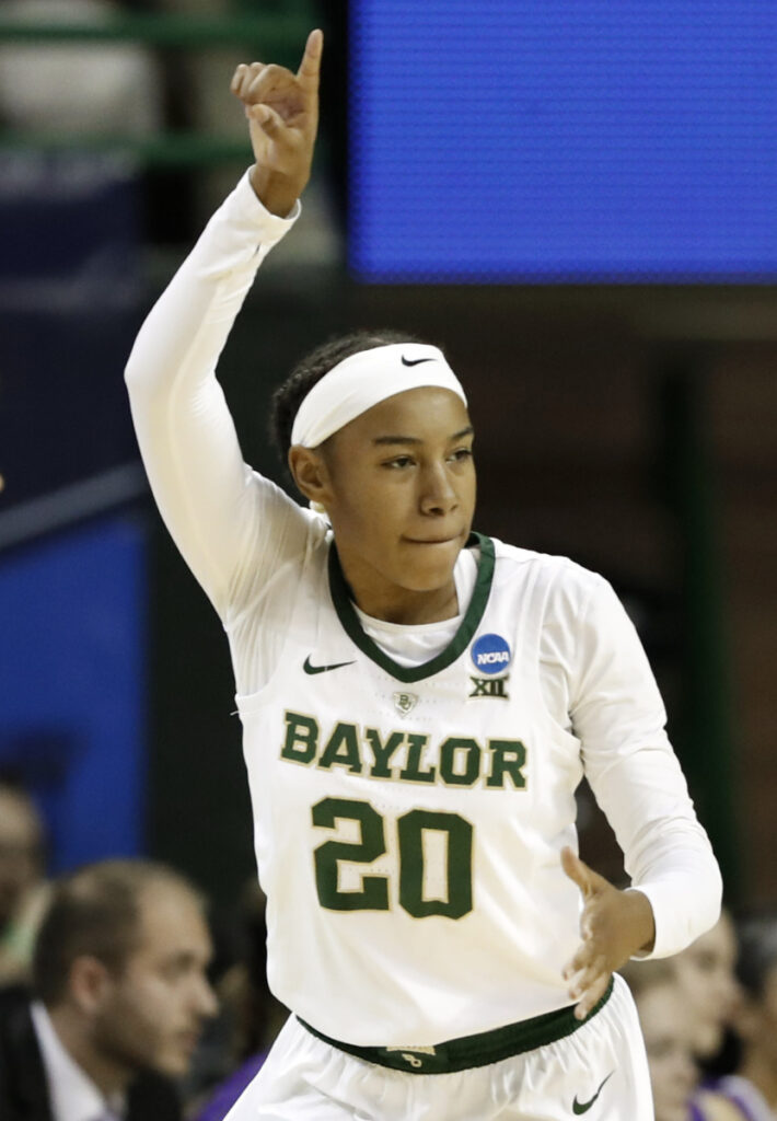 Baylor guard Juicy Landrum celebrates making a 3-point shot during the Lady Bears' win over Abilene Christian on Saturday in Waco, Texas.