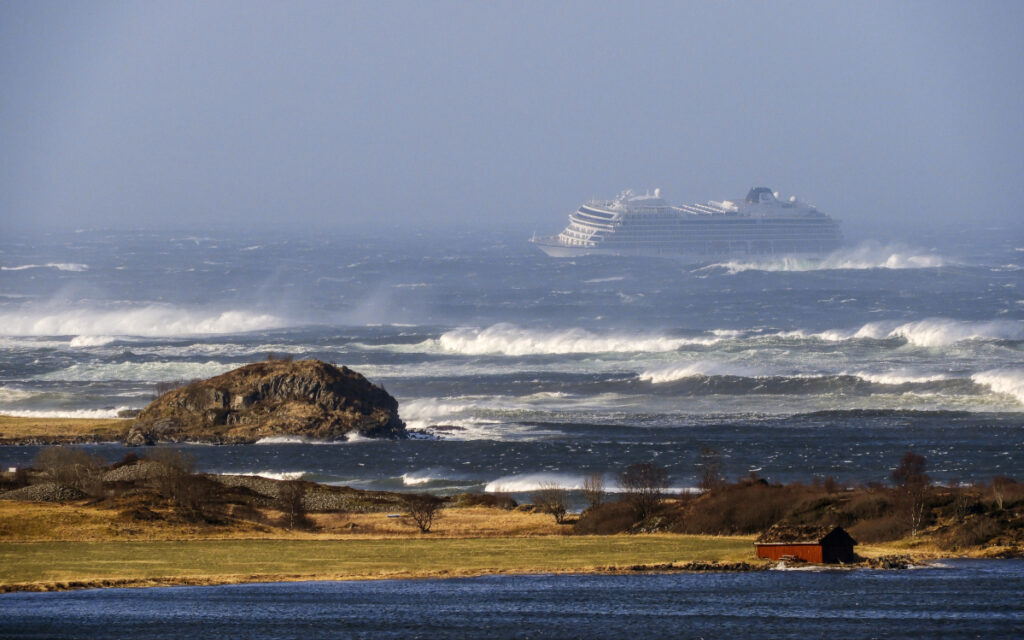 The cruise ship Viking Sky drifts after sending a mayday signal because of engine failure in windy conditions near Hustadvika, off the west coast of Norway, on Saturday.