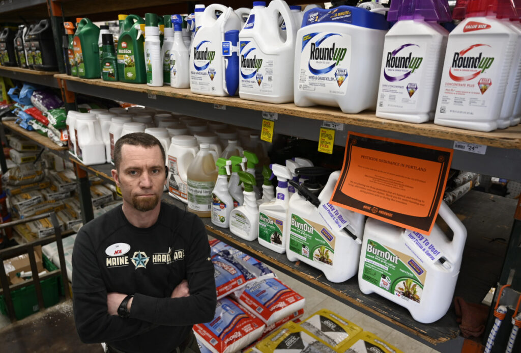 Tim Currier, general manager at Maine Hardware, will stop stocking synthetic pesticides. He's been trying to direct shoppers to buy organic, but he says the sythentic formulas remain popular.