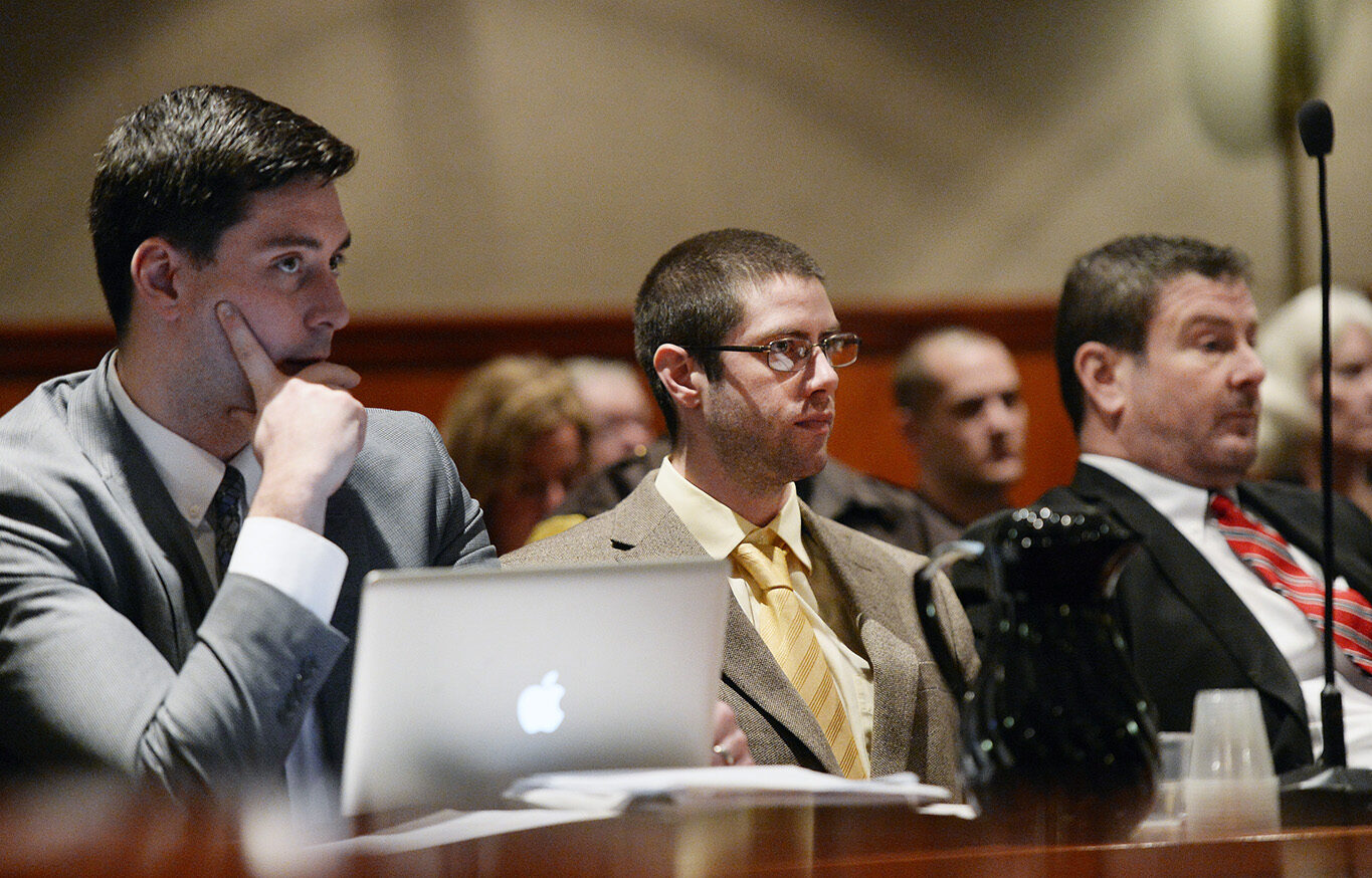 John D. Williams, center, appears in a Portland court on Friday along with his attorneys Patrick Nickerson, left, and Verne Paradie for a hearing on a motion to suppress his confession in the death of Cpl. Eugene Cole, a sheriff's deputy from Somerset County who was fatally shot last year.