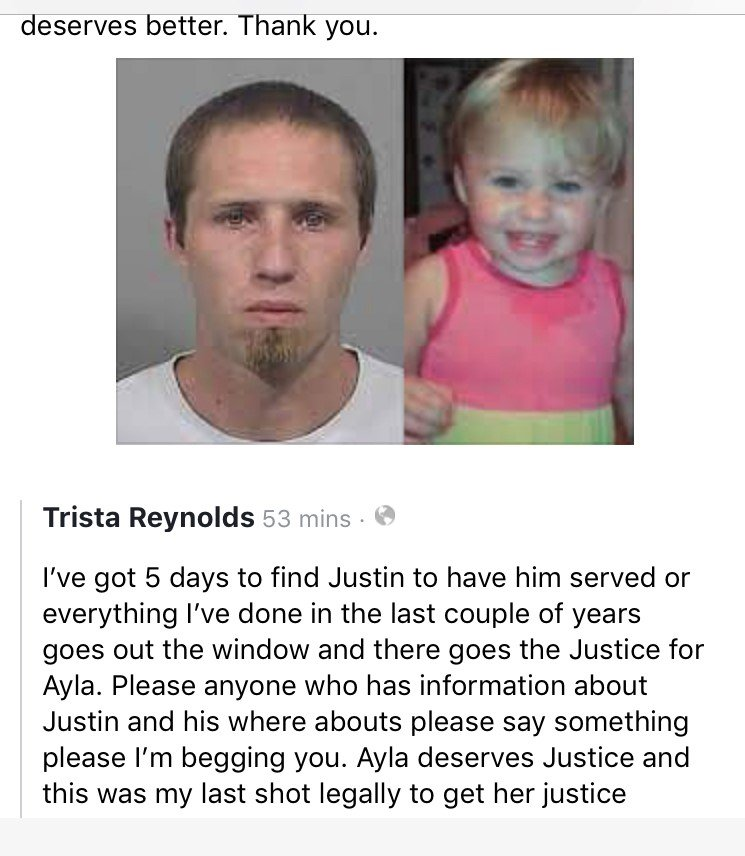 Trista Reynolds' Facebook post pleading for help in locating Justin DiPietro.