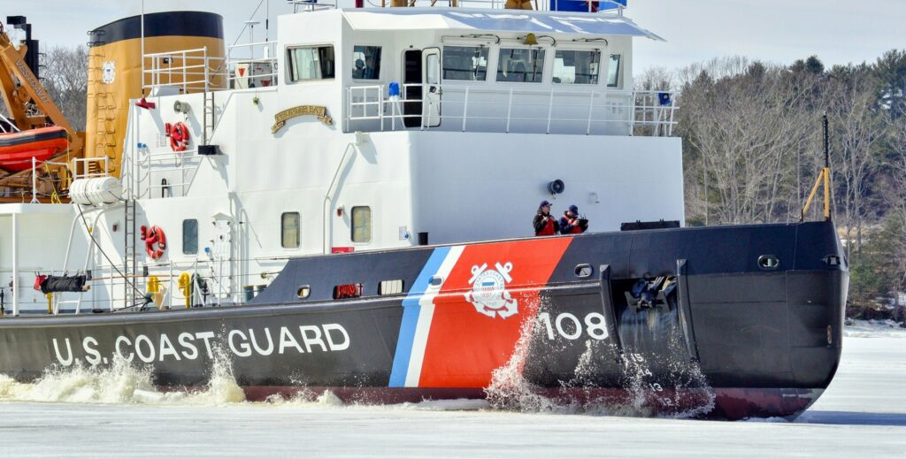 The U.S. Coast Guard cutter Thunder Bay breaks ice on the Kennebec River between Swan Island and Dresden at 12:34 p.m. Thursday, seen from Dresden shore.