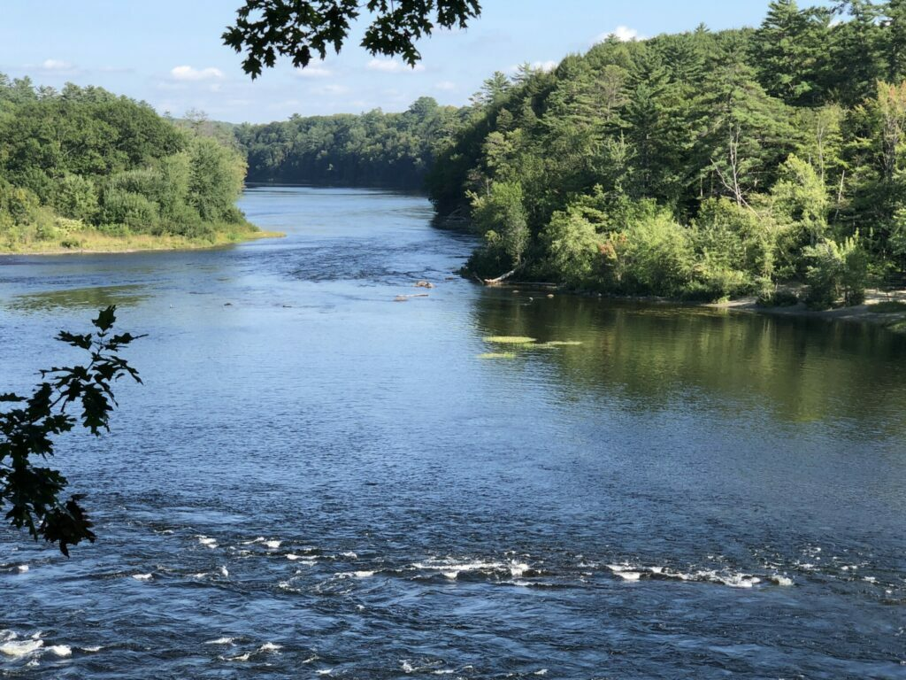 """The Kennebec River near the Great Eddy, where organizers are planning """"Kennebec on Fire,"""" a collaborative arts project."""