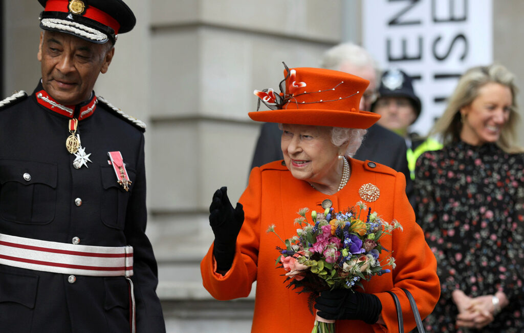 Britain's Queen Elizabeth II visits the Science Museum in London on Thursday. The queen sent her first Instagram post from the museum.