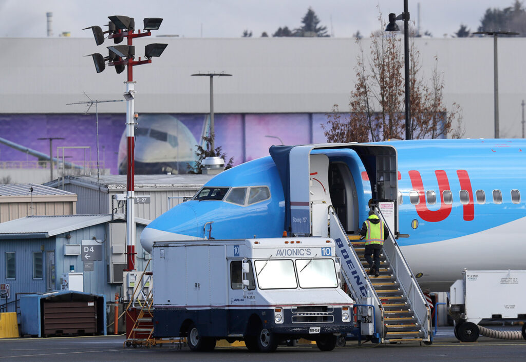A Boeing 737 Max 8 airplane was under construction Wednesday at Boeing Co.'s Renton Assembly Plant in Washington. President Trump issued an emergency order grounding all Boeing 737 Max 8 and Max 9 aircraft in the wake of a crash of an Ethiopian airliner.