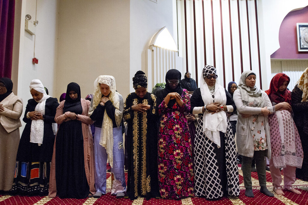 A group of women pray at the Masjidullah Mosque in Philadelphia on Friday.