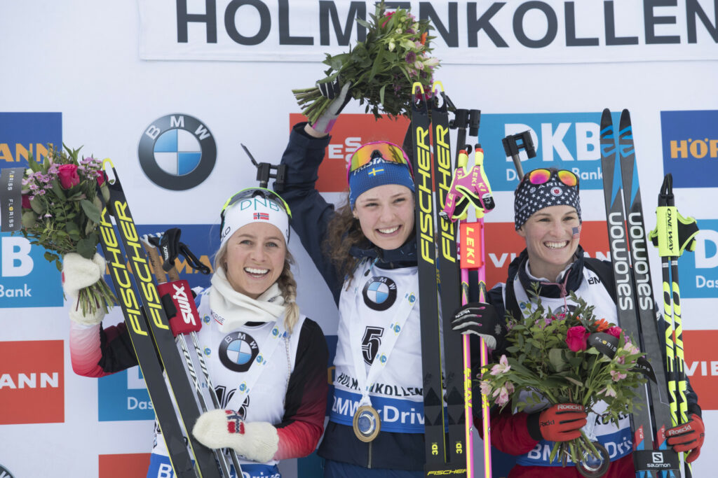 From left, Tiril Eckhoff of Norway, Hanna Oeberg of Sweden and Clare Egan of the U.S. celebrate Sunday after an IBU World Cup biathlon in Oslo, Norway. After the strong performance, Egan reconsidered her plan to retire.
