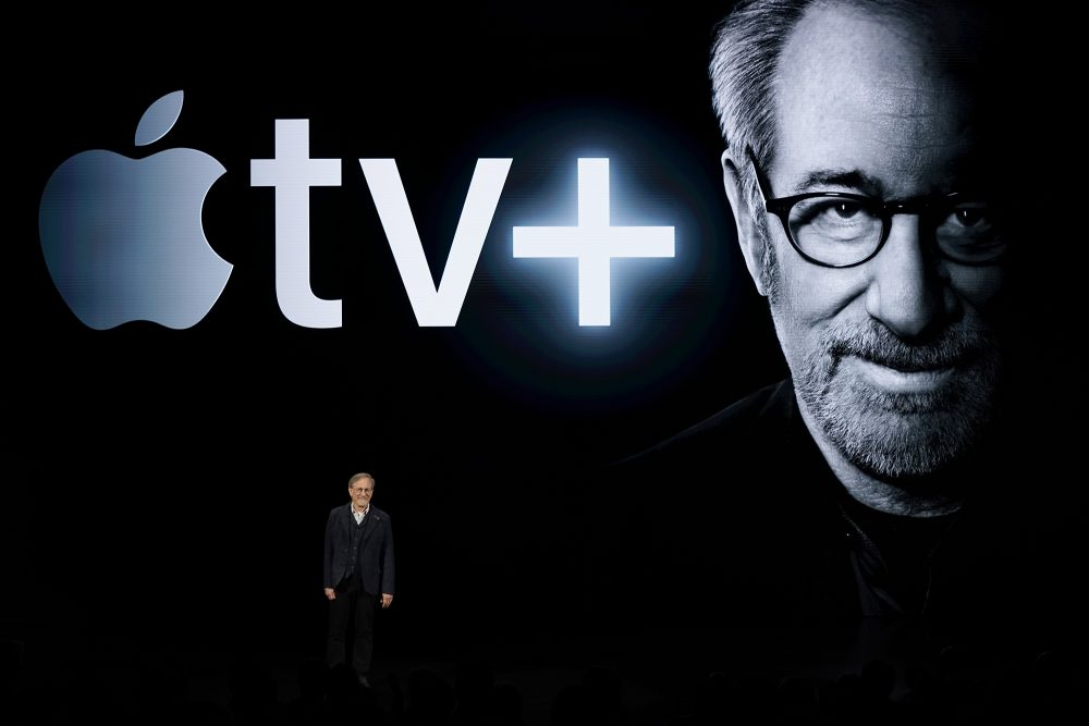 Director Steven Spielberg speaks at the Steve Jobs Theater during an event to announce new Apple products Monday in Cupertino, Calif.