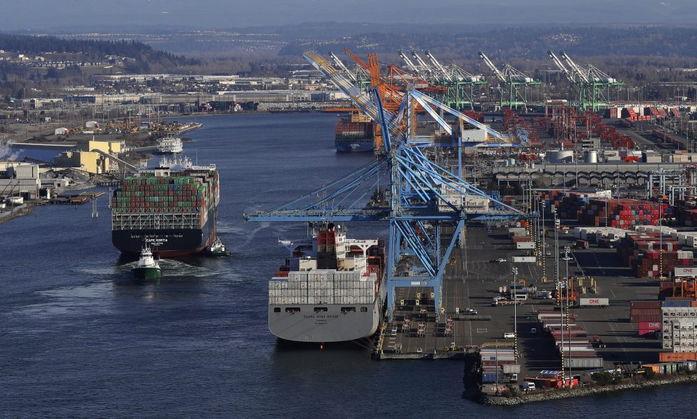 A container ship heads into the Port of Tacoma on March 5.