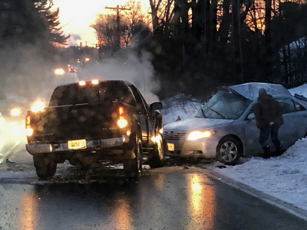 The Westbrook Police Department said Wednesday they have spoken to the man shown in this photo taken by a witness seconds after a fatal crash on Monday. The man, police say, did not see the crash but stopped to see if he could be of assistance.