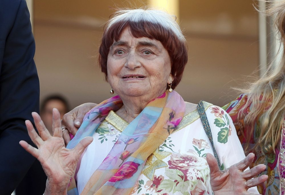 "Agnes Varda appears at the screening of the film ""Visages, Villages,"" in 2017."