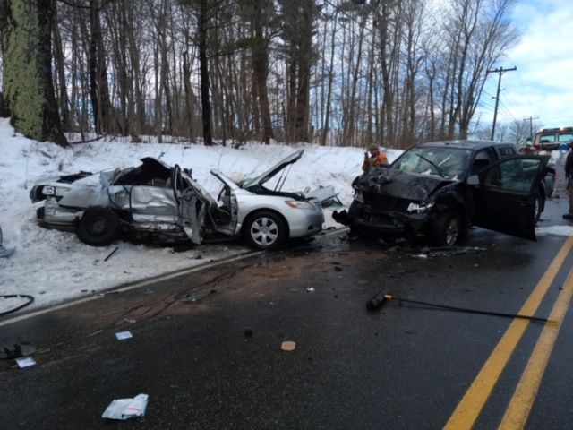 Three people died in the crash about 7 a.m. Monday on County Road in Westbrook, where icy roads had been reported.