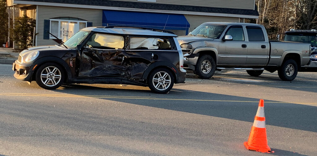 One person was seriously injured in a crash between a car and pickup truck on Industrial Park Road in Saco on Wednesday evening.