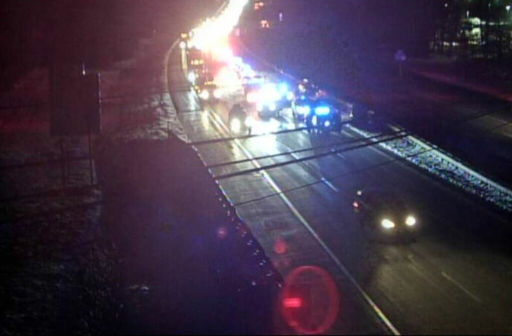 This image from a Maine Turnpike traffic camera shows the accident scene Friday night near Exit 32 in Biddeford.