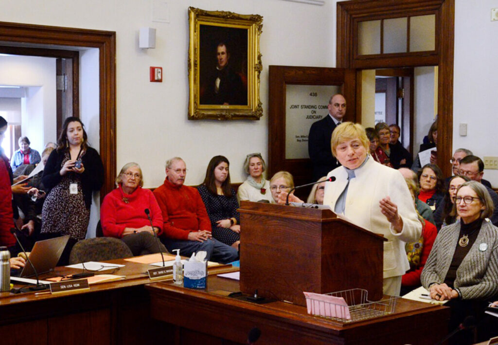 Gov. Janet Mills testifies Thursday before the Legislature's Judiciary Committee in favor of a ballot measure that would amend the state's Constitution to prohibit discrimination based on gender. It was her first testimony before a legislative committee since she became governor in January.
