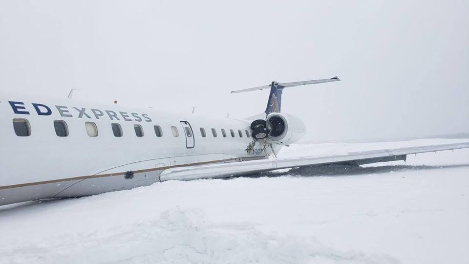 Five people were injured and a small jet was damaged when it slid off the runway at Presque Isle Airport on Monday.