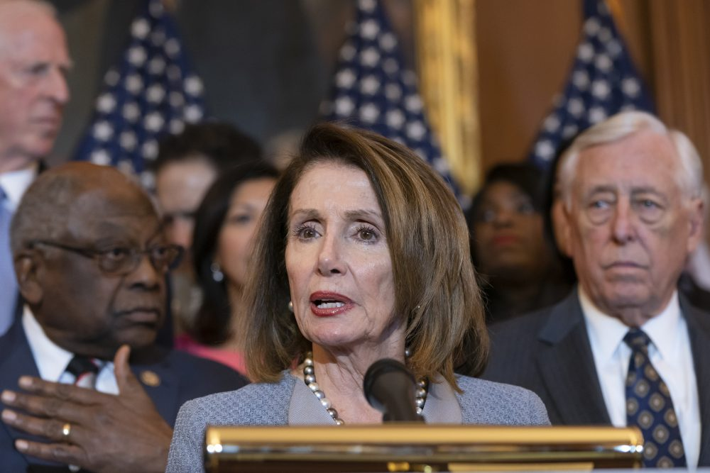 """Speaker of the House Nancy Pelosi, D-Calif., announces legislation to lower health care costs and protect people with pre-existing medical conditions at the Capitol on Tuesday. The Democratic action comes after the Trump administration told a federal appeals court that the entire Affordable Care Act, known as """"Obamacare,"""" should be struck down as unconstitutional."""