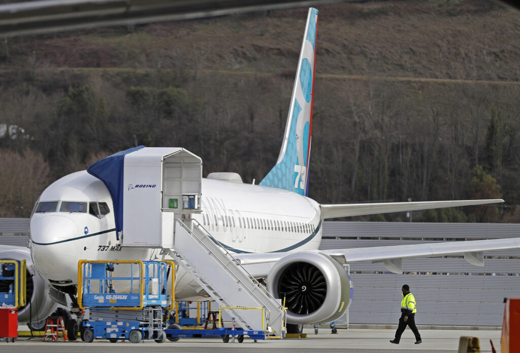 A Boeing 737 Max 8 airplane parked at Boeing Field in Seattle on March 14.