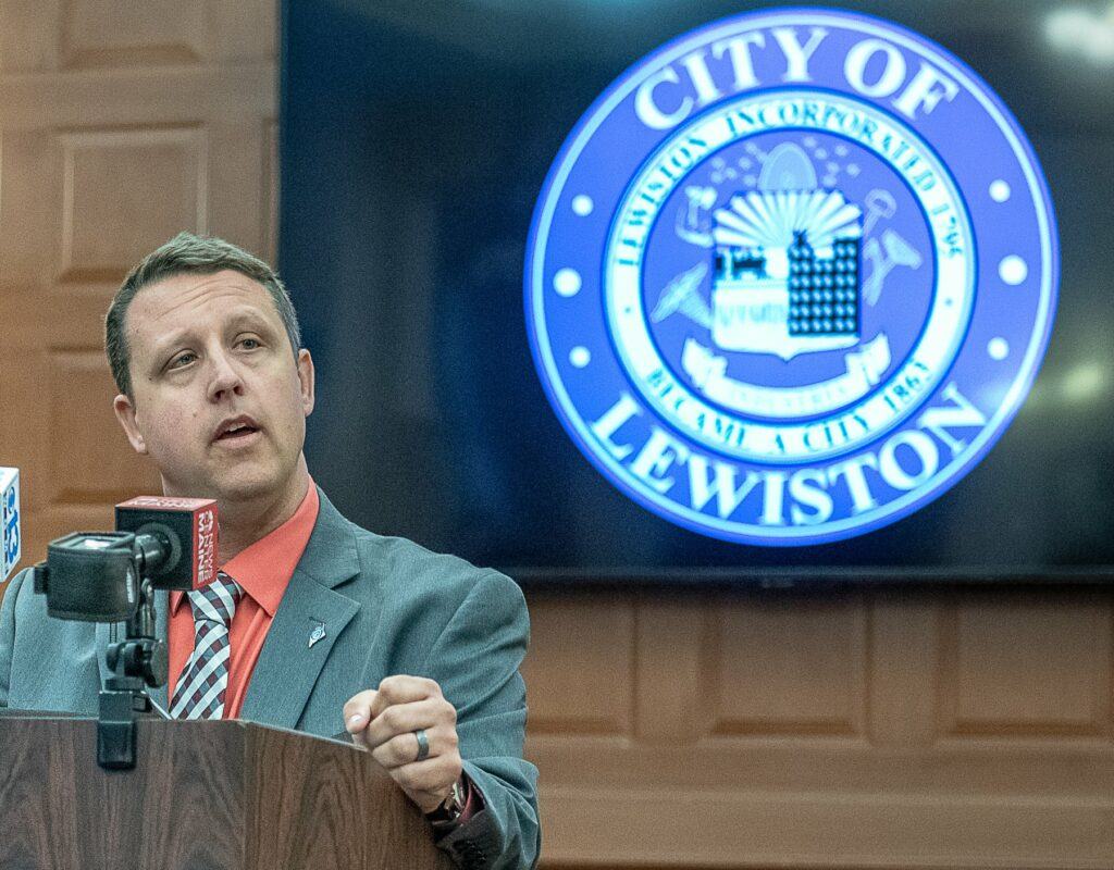 "Shane Bouchard announces his resignation as mayor of Lewiston on Friday morning during a press conference at City Hall. He said, ""In this political climate where the media does not discriminate between facts and rumors, it is hard to be a public figure."""
