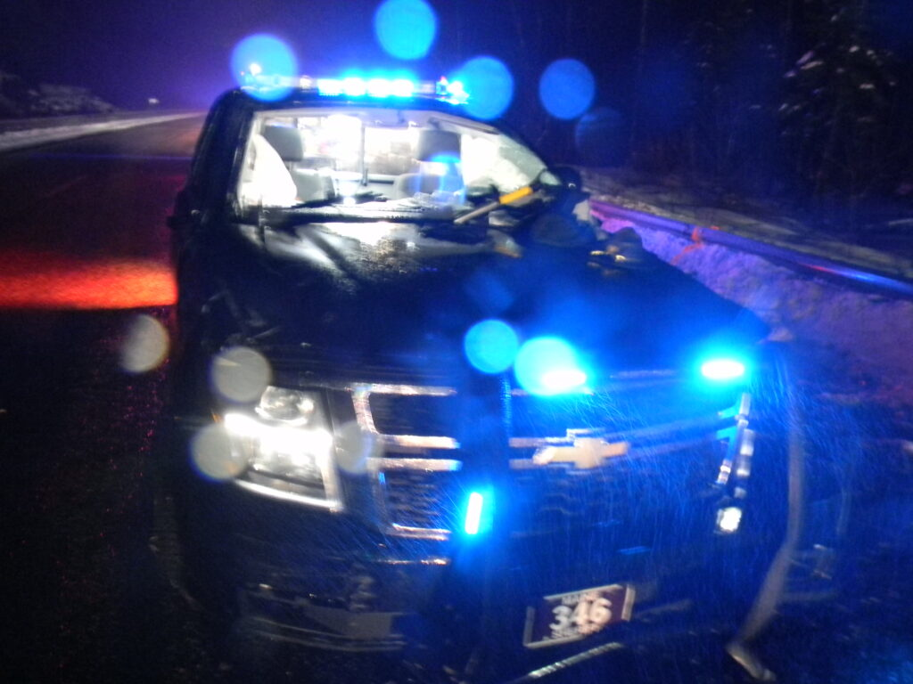 This Cumberland County Sheriff's Office cruiser was totaled after the deputy driving lost control and the cruiser rolled several times on Maine Turnpike.
