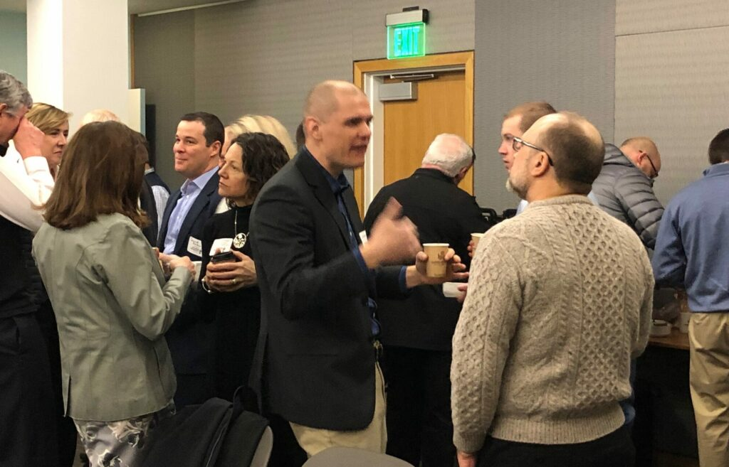 More than 180 people gathered for the Feb. 27 Business Breakfast Forum to hear about trends in home-buying. There was plenty of networking beforehand.