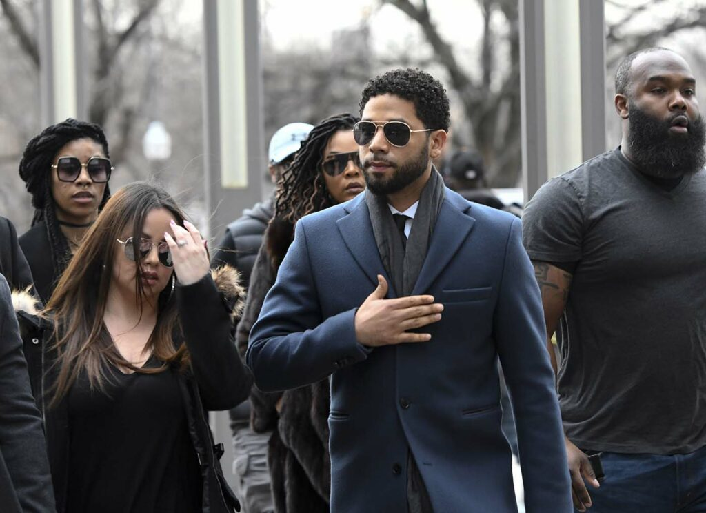 Empire actor Jussie Smollett arrives at court in Chicago for his hearing on Thursday.