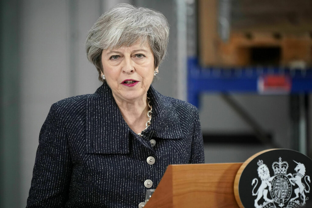 Britain's Prime Minister Theresa May addresses factory workers in the staunchly pro-Brexit northern England port town of Grimsby on Friday.